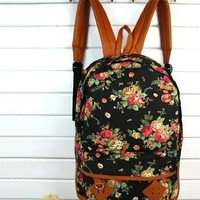 Backapck Women girl lady Fashion Vintage Cute Flower School Book Campus Bag Backpack Color : Black BB 05