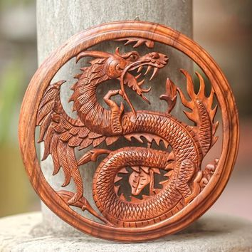 Dragon With Lotus Bud Artisan Handmade Traditional Art Handcarved Natural Brown Wood Framed Home Decor Wall Panel (Indonesia) | Overstock.com Shopping - The Best Deals on Wall Hangings