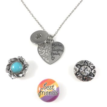 """Snap Charm Pendant Necklace Mother Daughter Forever Filigree Heart Includes 18"""" Chain 3 Snaps Shown Fits Standard Size Ginger Snaps (SET-1)"""