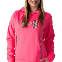 Under Armour Women's UA Storm Cerise Neon Pink Caliber Camo Logo Hoodie Jacket
