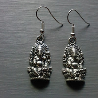 Silver Ganesha Pendant Charm Dangle Earrings