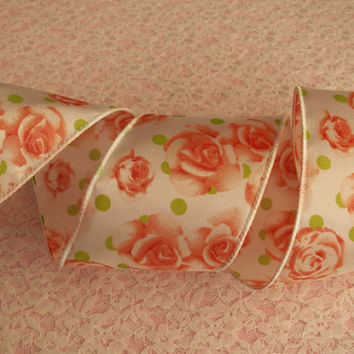 "5 YARDS, Floral Ribbon, Coral Roses Ribbon, Wired Edge, 2 1/2"" wide, Baskets, Bows, Wreaths, Door Hangers, Home Decor, Ribbon Decorations"