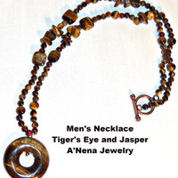 "Men's Genuine Tiger's Eye and Jasper Necklace ""Wealthy in Love"""