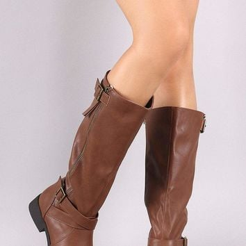Qupid Buckled And Zipper Trim Riding Knee High Boots