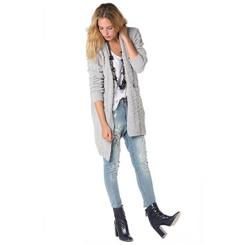 Women's Gray Longline Cable Cardigan