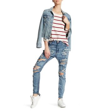 Women's Trashed Runaways Distressed Jeans
