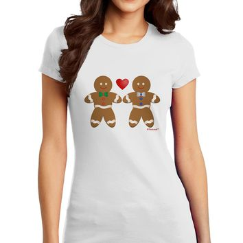 Gingerbread Man Couple Juniors T-Shirt by TooLoud
