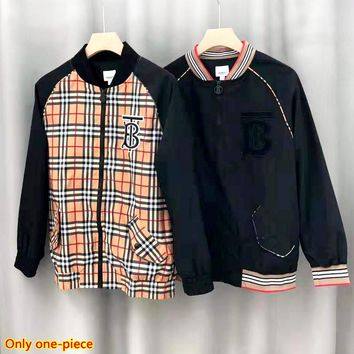 Burberry new embroidered letters rainbow striped plaid jacket