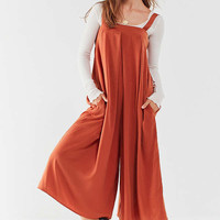 UO Straight-Neck Satin Culotte Jumpsuit | Urban Outfitters