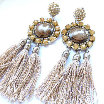 Multicolor Earrings, Statement earrings, Boho Earrings, Gold Earrings, gold beige earrings, gold brown earrings, Tassel Earrings, gold