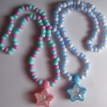 Pastel Kandi Necklace with Locket - Pink Star Necklace Only