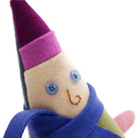 Plush doll elf named Antonio, wool and felt gnome wearing a purple hat and blue scarf