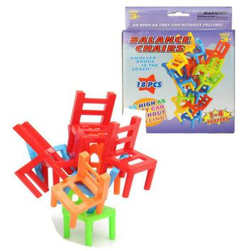 VONC1Y 18pcs/box Plastic Children Balance Toy Stacking Chairs Kids Desk Playing Game Toys Parent Child Interactive Party Game Toys