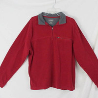 LL Bean Fleece Pullover L size Mens Cranberry Red Lightweight Jacket All Season