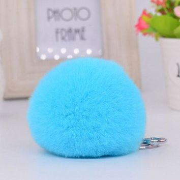 ONETOW 8CM Genuine rex Rabbit fur ball Silver color keychain cute Car key ring Bag Pendant fur pom fluffy key chains