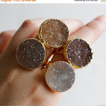 XMAS SALE Caramel Brown Druzy Ring - Geode Rings - Choose Your Stone, Sweet like Sugar, Gifts for Her
