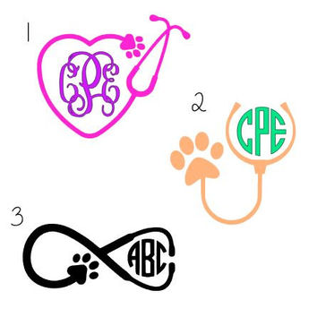 Veterinarian Monogram Stethoscope Decal - Vet Monogram - Animal - Decal for Yeti, Clipboard, Car, Jeep, Laptop, Phone and More!