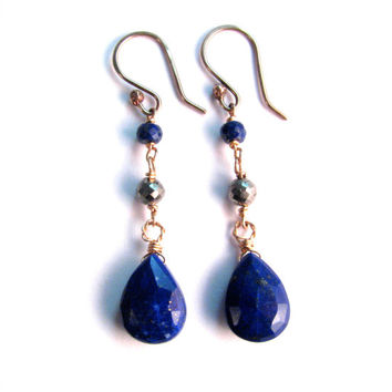 Navy Blue Natural Lapis lazuli and Pyrite Long Dangle Earrings in Bronze - Blue Stone Earrings - Blue and gold