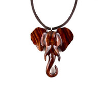 Elephant Pendant, Elephant Necklace, Ganesha Hand Carved Pendant, Ganesha Necklace, Wood Elephant Ganesha, Elephant Jewelry, Yoga Jewelry