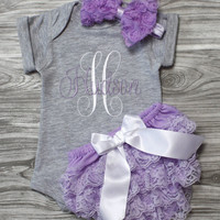 Baby girl coming home outfit gray and lavender onepiece bloomers plush blanket headband Personalized baby shower gift monogrammed newborn