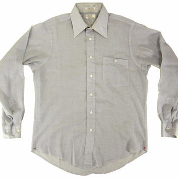 Vintage Blue-Grey Dress Shirt by Hathaway - Button Down Oxford Pub Preppy Ivy League Menswear - Men's Size Medium Med M