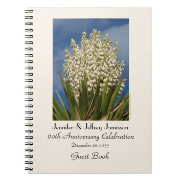 60th Anniversary Party Guest Book, Blooming Yucca Notebook