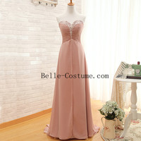 Sweetheart Prom Dress, Long Bridesmaid Dresses, Long Chiffon Prom Evening Dresses