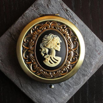 Skeleton cameo pill box, antique brass pill box, halloween pill box, sugar skull pill box, bronze pill box, unique holiday gift ideas