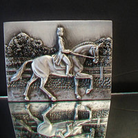 Equestrian Horse Rider Metal Plaque Gray Woman Riding Pony Home Decor