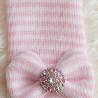 Pink Striped Knit Newborn Hospital Hat  with Pink Striped Bow and Rhinestone - Photo Prop - Baby Girl Beanie