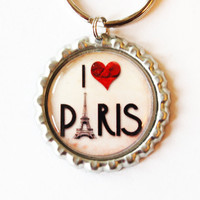 I Love Paris, keychain, Paris Keychain, key chain, key ring, bottlecap, stocking stuffer, under 10, paris (1950)