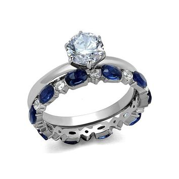 Something Blue Wedding Set - Stainless Steel and CZ Wedding Band Set
