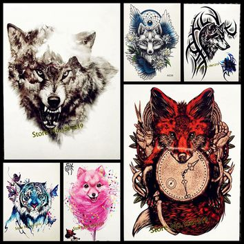 Sexy Red Fox Designs Flash Tattoo Body Art Arm Sleeve Tattoo Stickers GHB388 Fake Wolf Tatoo Selfie Wall Car Styling Home Decor