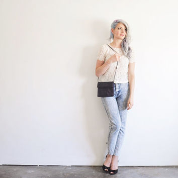 sheer lace crop top . scallop sleeve blouse .small