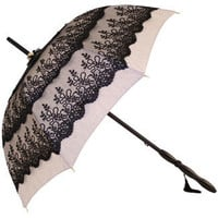 Susette - UVP Triple Black Lace Trim Parasol