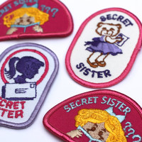 Vintage Patch Girl Scout Secret Sister Set of 4 Insignia -  Embroidered Patches Badge