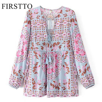FIRSTTO Ethnic Colorful Floral Shirt Cross Lacing up Tied Bow Tassel Deep V-Neck Pullover Long Sleeve Women Loose Blouse Tops