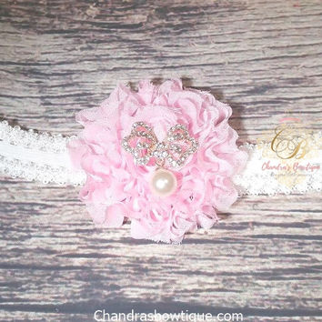 Pink Glitter Shabby Flower with Butterfly Rhinestone and Pearl Headband