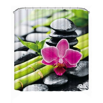 Calming Zen Flower/Rocks/Bamboo Shower Curtain 180*180cm