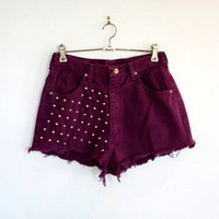 Wine Red High Waisted Shorts by BohoChildGarments on Etsy