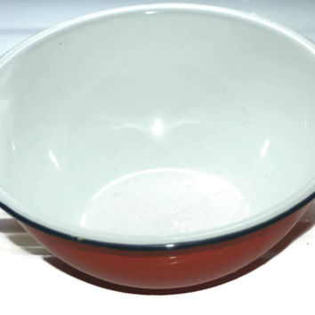 ON SALE Orange and White Enamelware Bowl,Vintage Mixing Bowl
