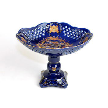 Cobalt Blue Porcelain Compote Pedestal Bowl - Traditional Japanese Bird of Paradise Scene, Heavy Gold Gilt Details, Reticulated Lattice Trim