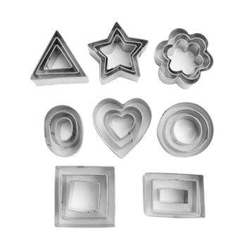24pcs Biscuit and Cookie Cutter Set Sushi Mold Stainless Steel Plum Flower/Round/Square Cake Decorating Dessert Bakeware Tools