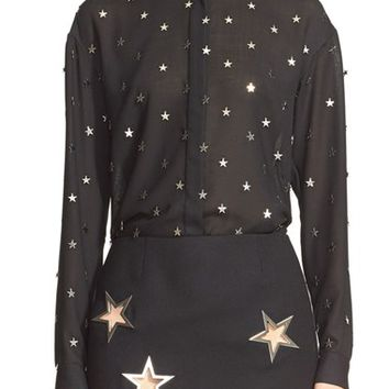 Women's Anthony Vaccarello Star Embellished Shirt,