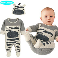 Bear Leader 2016 New style baby boys clothes Zebra gray long-sleeved jumpsuit+hat babysuit 70 size Footies children clothing