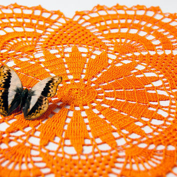Crochet Doily, tabletop decor, lace centerpiece, frame for wall decor, bright orange, orange sun, sunshine, heirloom quality, cottage chic