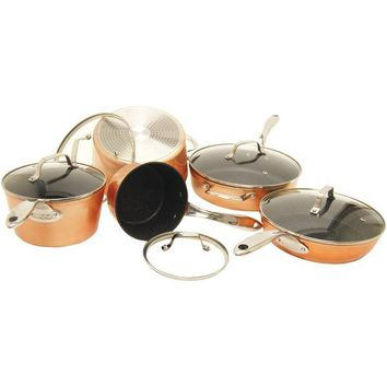 The Rock(Tm) By Starfrit(R) The Rock By Starfrit 030910-001-Star The Rock By Starfrit 10-Piece Copper Cookware Set