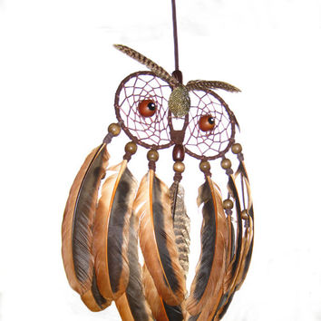 Owl Dream Catcher, Brown, home decor, Native American, Boho, accessory, unique design, handmade, brown owl, feathers, wooden beads