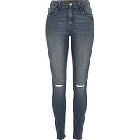 River Island Womens Mid wash ripped knee Amelie superskinny jeans