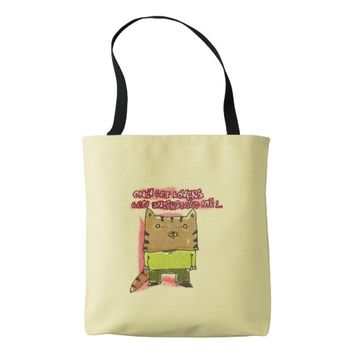 only cat lovers can understand me funny cartoon tote bag
